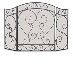 Wrought Iron 3 Panel Country Scroll Fireplace Screen by Napa Forge