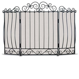 Wrought Iron 3 Panel Villa Fireplace Screen by Napa Forge