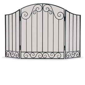 Pictured here is the Wrought Iron 3 Panel Vienna Fireplace Screen with arched center panel by Napa Forge