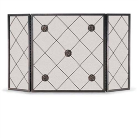 Wrought Iron 3 Panel Rosettes Fireplace Screen by Napa Forge