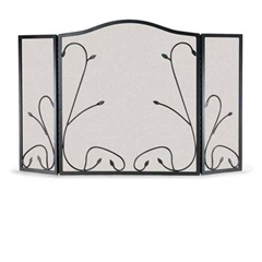Wrought Iron 3 Panel Leaf & Vine Fireplace Screen by Napa Forge