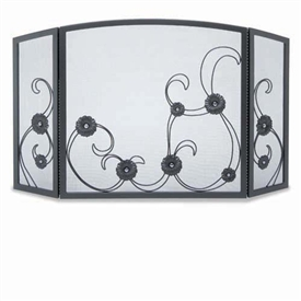 Wrought Iron 3 Panel Forged Sun Flower Scroll Fireplace Screen by Napa Forge
