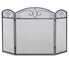 Wrought Iron 3 Panel Forged Crest Fireplace Screen by Napa Forge