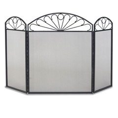 Wrought Iron 3 Panel Colonial Fireplace Screen by Napa Forge