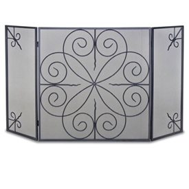 Wrought Iron 3 Panel Elements Fireplace Screen by Napa Forge