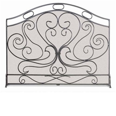 Wrought Iron Single Panel Shakespeare's Garden Fireplace Screen by Napa Forge