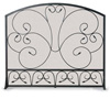 Wrought Iron Single Panel Country Scroll Fireplace Screen by Napa Forge
