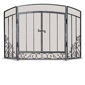 Wrought Iron 3 Panel Renaissance Fireplace Screen with Doors by Napa Forge