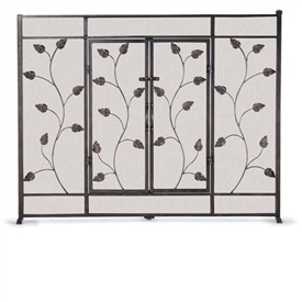 Wrought Iron Flat Leaf & Vine Fireplace Screen with Doors by Napa Forge
