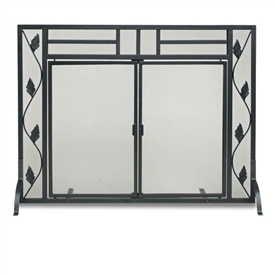 Wrought Iron Flat Garden Leaf Fireplace Screen with Doors by Napa Forge