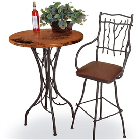 Wrought iron bar height tables 40 to 42in tall pictured here is the south fork 40 bar table with 30 round top hand watchthetrailerfo