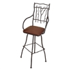 Pictured is our South Fork Swivel Bar Stool with Arms featuring a rustic hand-forged wrought iron frame.