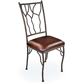 Pictured is our rustic Camelot Dining Side Chair, hand-forged by artisan blacksmiths.
