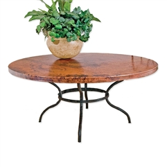 "Pictured here is the Woodland Dining Table with 60"" Round Copper Top hand crafted by skilled artisan blacksmiths."