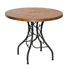 "Pictured here is the South Fork Bistro Table with 36"" Round Copper Top hand crafted by skilled artisan blacksmiths."