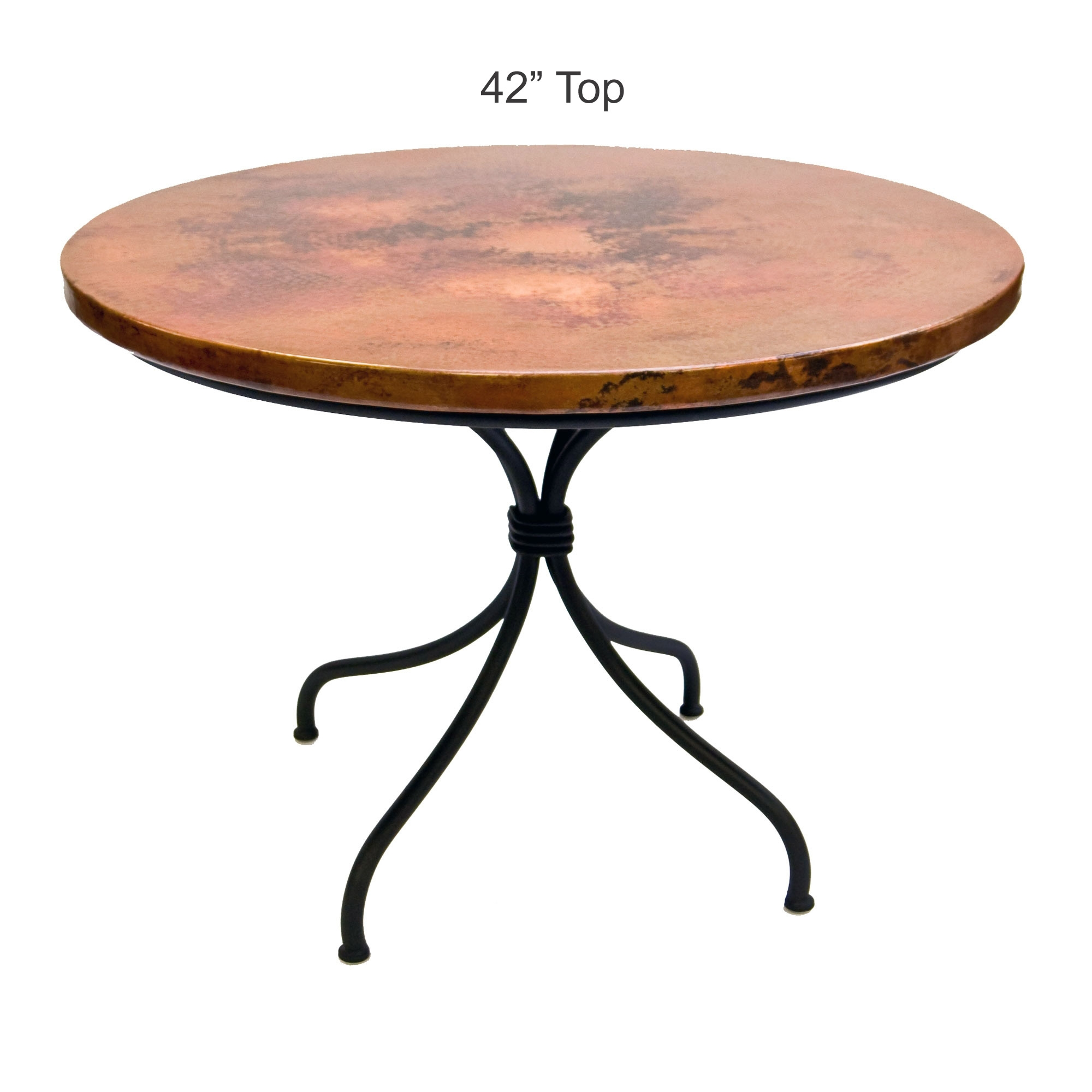 Contemporary Wrought Iron Italia Dining Table 42in Round Top