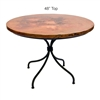 "Pictured here is the Italia Dining Table with 48"" Round Top hand crafted by skilled artisan blacksmiths."