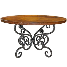 Pictured here is the Alexander Wrought Iron Dining Table with 48 inch Round copper, marble, or wood top hand crafted by skilled artisan blacksmiths.
