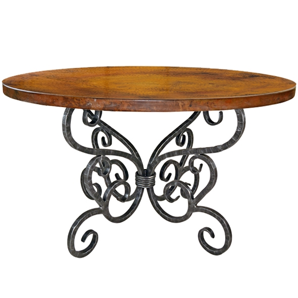 ... Wrought Iron Dining Table With 48 Inch Round Copper, Marble. Larger  Photo