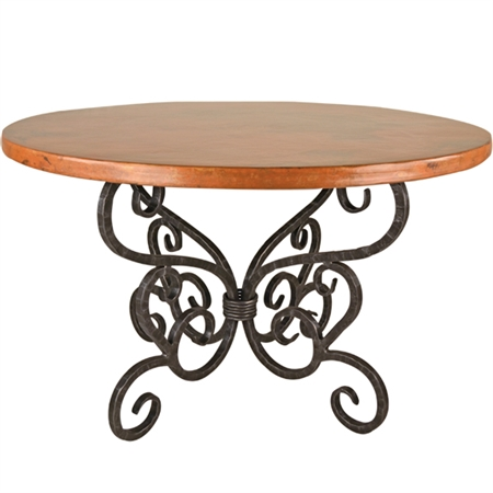 "Pictured here is the Alexander Dining Table with 60"" Round Top hand crafted by skilled artisan blacksmiths."