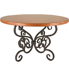 "Pictured here is the Alexander Dining Table with 72"" Round Top hand crafted by skilled artisan blacksmiths."