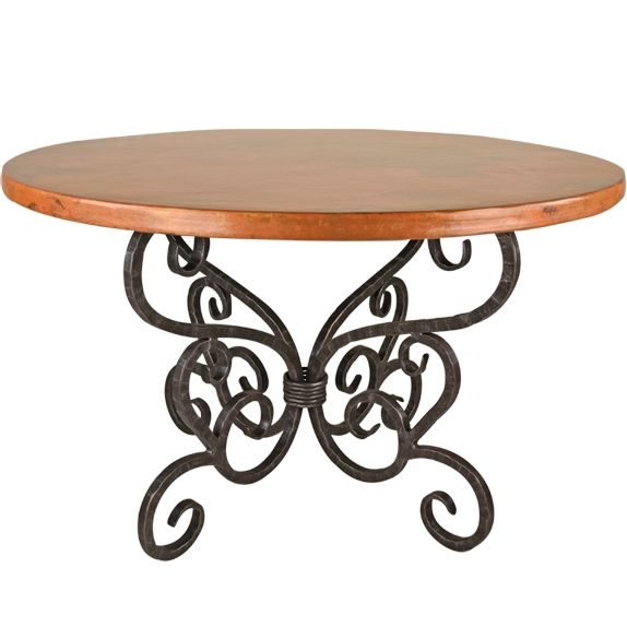 Traditional Wrought Iron Alexander Dining Table 72in Round Top