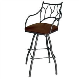 Pictured is our Large South Fork Branch Swivel Bar Stool with Arms hand-forged by artisan blacksmiths.