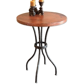 "Pictured here is the Woodland 36"" Counter Table with 30"" Round Top hand crafted by skilled artisan blacksmiths."