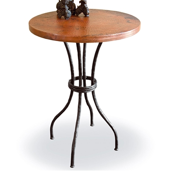 "Pictured here is the Woodland 40"" Bar Table with 30"" Round Top hand crafted by skilled artisan blacksmiths."