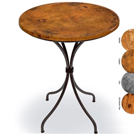 Pictured here is the Italia 36-in Height Counter Table with 30-in. Round Copper Table Top and Black Iron Finish.