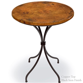 Pictured here is the Italia Bar Height Table with a 30 inch Round copper table top on a black wrought iron frame.