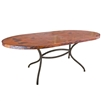 Pictured here is our Italia Wrought Iron Oval Dining Table with 72 x 44-in Soft Oval Copper table top