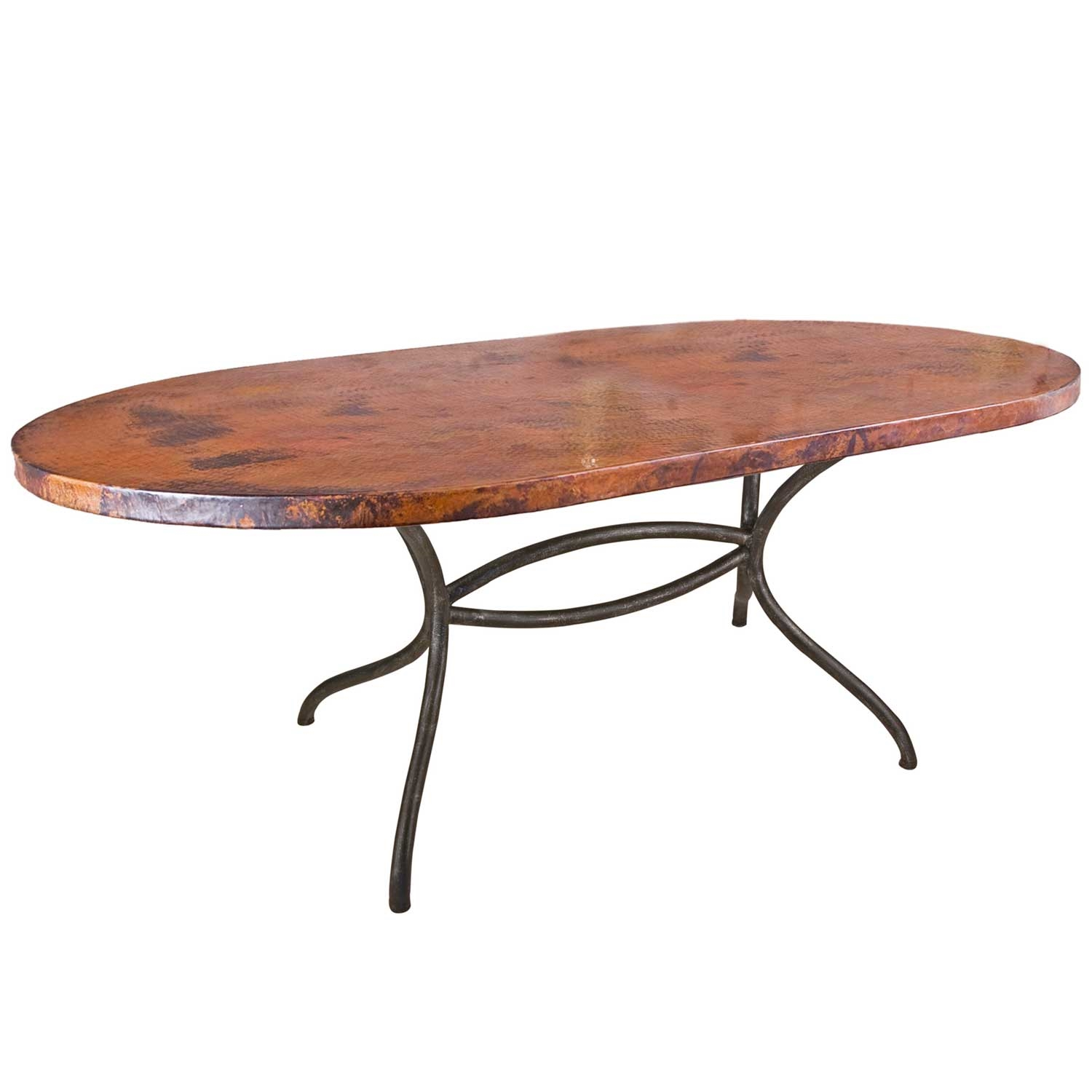 Italia Wrought Iron Oval Dining Table With 72 X 44 In