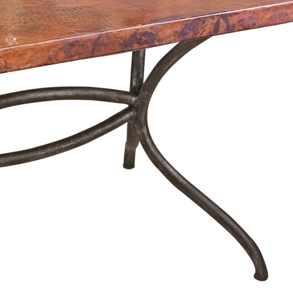 Italia Wrought Iron Oval Dining Table with 72 x 44-in Oval Copper Top