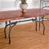 "Pictured here is the South Fork Dining Table with 42"" x 72"" Rectangle Copper Top hand crafted by skilled artisan blacksmiths."