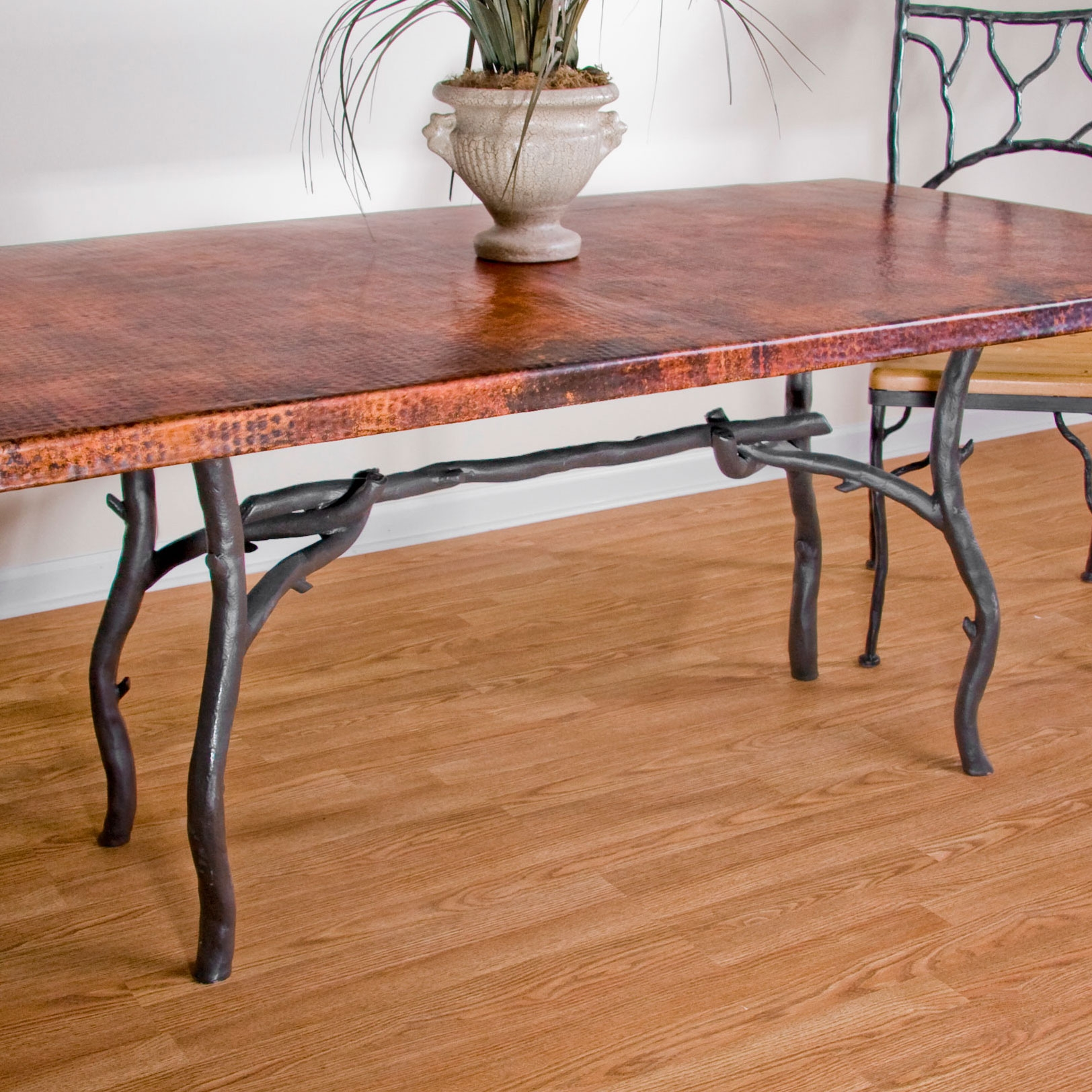 Copper Top Rectangular Coffee Table: Rustic Wrought Iron South Fork Dining Table With 42in X