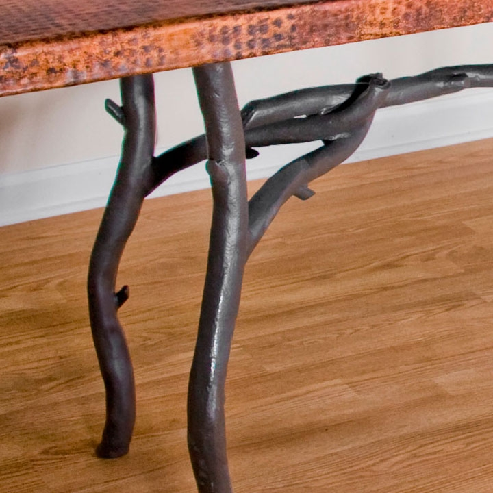 Rustic Wrought Iron South Fork Dining Table with 42in x 72in