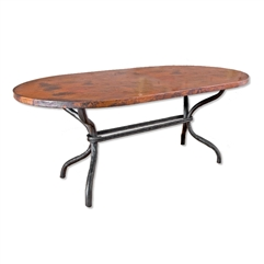 "Pictured here is the Woodland Dining Table with 42"" x 72"" Rectangle Copper Top hand crafted by skilled artisan blacksmiths."