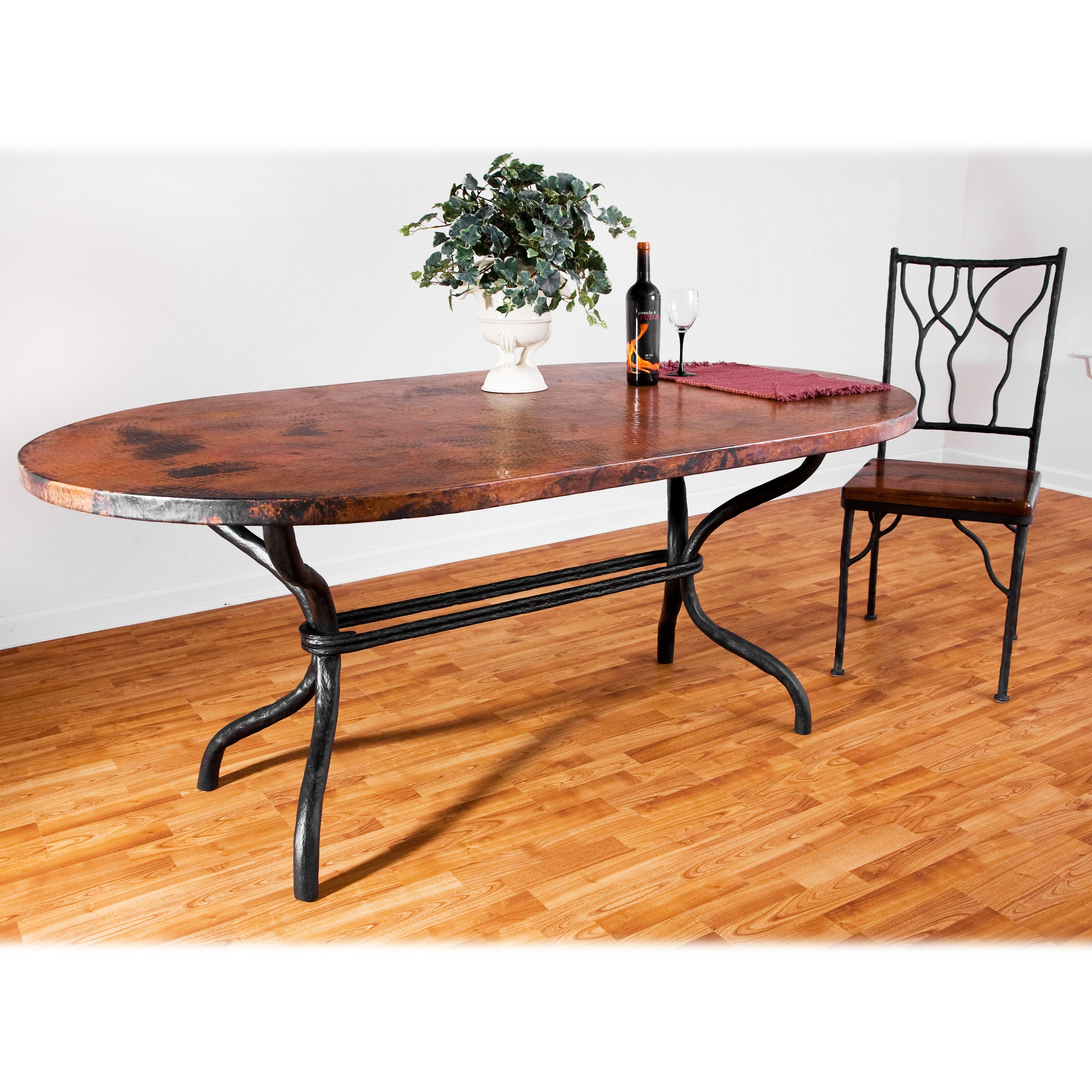Copper Top Rectangular Coffee Table: Contemporary Wrought Iron Woodland Dining Table