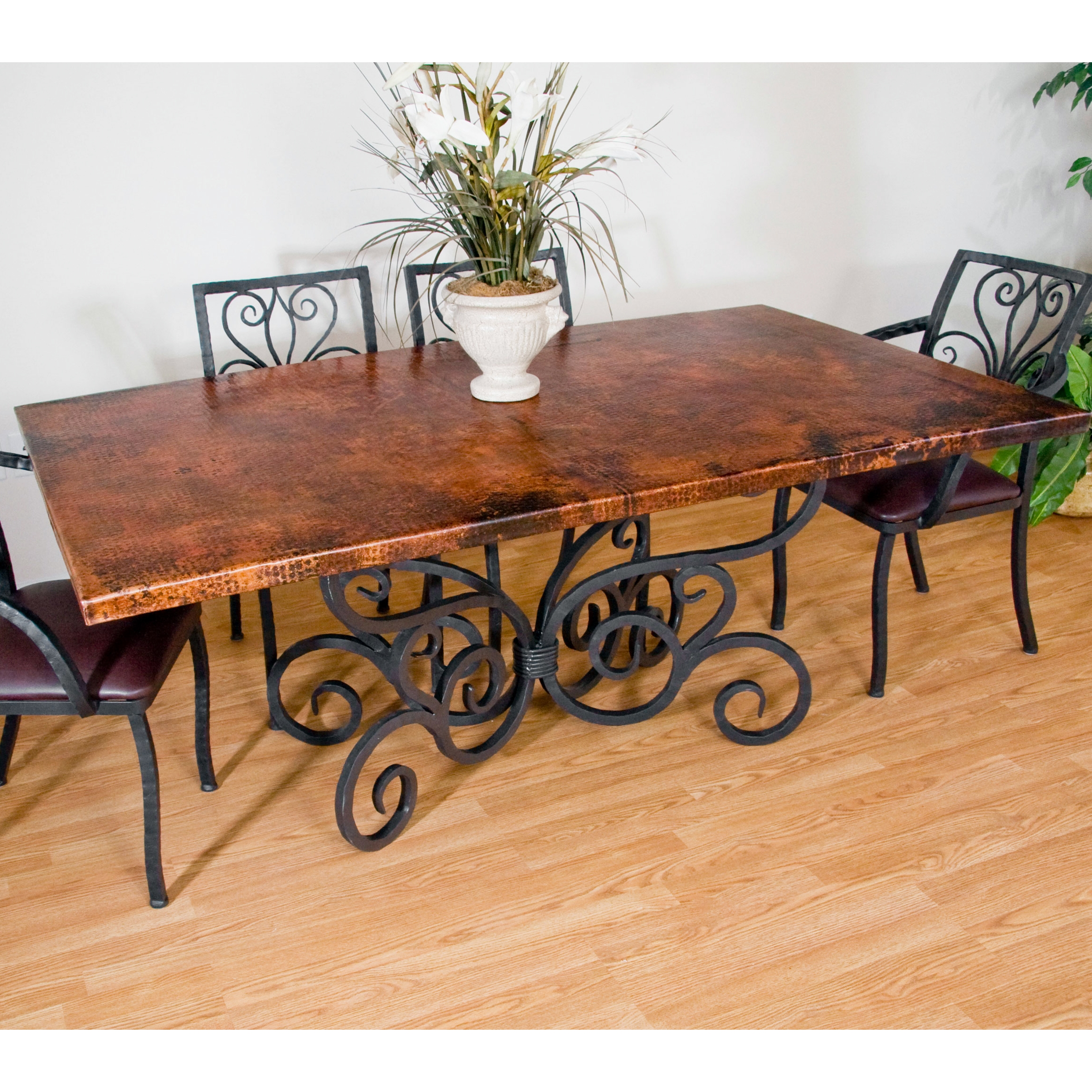 Traditional Wrought Iron Alexander Dining Table | 42in x 72in ...