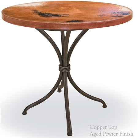 Pictured here is the Italia Bistro Table with an aged pewter iron finish and 36 inch Round Copper Top - Additional iron finish and table top options available.