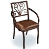 Pictured is the Wrought Iron Alexander Dining Arm with Aged Bronze Finish and Brown Leather upholstered seat hand-forged by artisan blacksmiths.