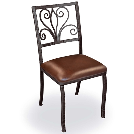 Pictured is our Alexander Wrought iron Dining Side Chair with leather upholstered seat.