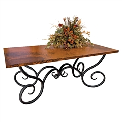 "Pictured here is the Milan Dining Table with 42"" x 72"" Rectangle Copper Top hand crafted by skilled artisan blacksmiths."