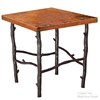 "Pictured here is the South Fork End Table with 24"" Square Top hand crafted by skilled artisan blacksmiths."