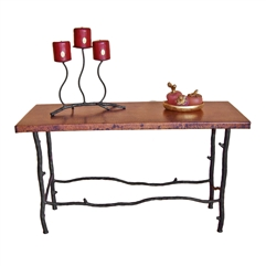 "Pictured here is the South Fork Extra Long Console Table with 60"" x 14"" Top hand crafted by skilled artisan blacksmiths."