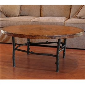 Pictured here is the South Fork wrought iron Coffee Table with a 42inch round copper top hand crafted by skilled artisan blacksmiths.