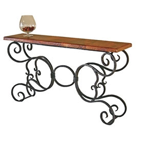 "Pictured here is the Alexander Console Table with 60"" x 14"" Top hand crafted by skilled artisan blacksmiths."
