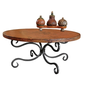 "Pictured here is the Alexander Coffee Table with 42"" Round Top hand crafted by skilled artisan blacksmiths."