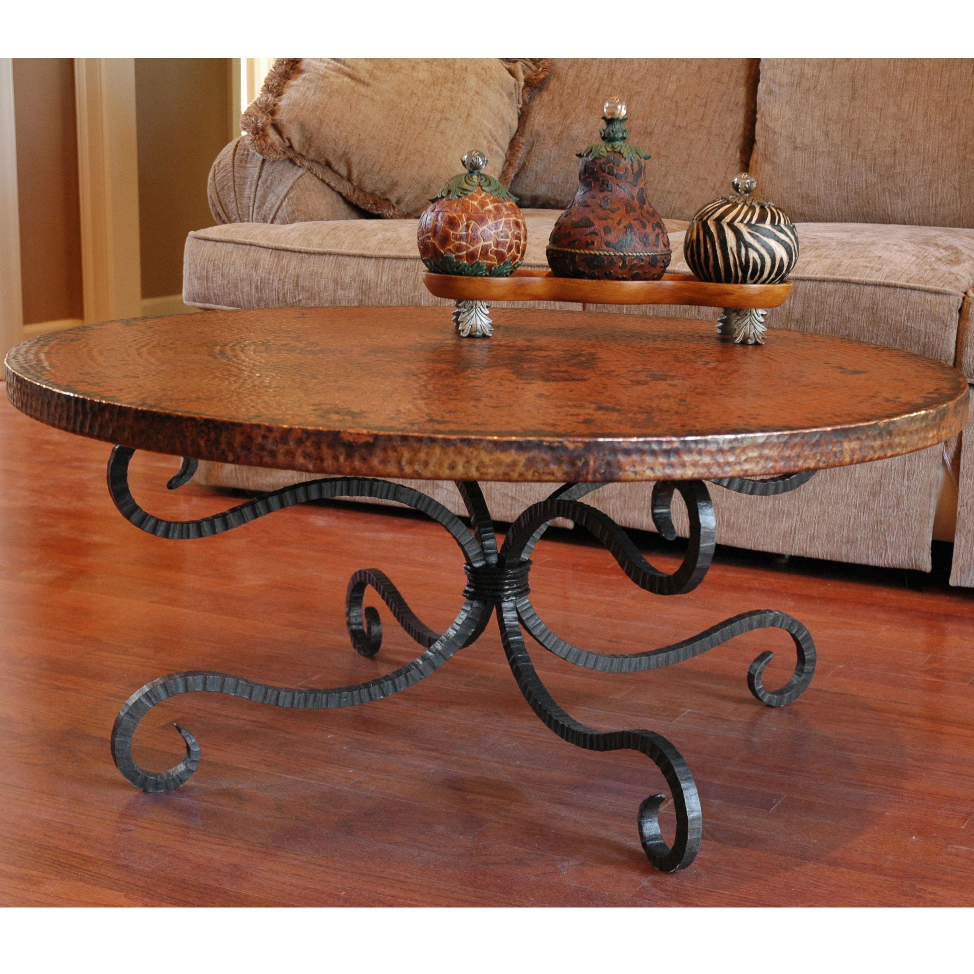 traditional wrought iron alexander coffee table with round top